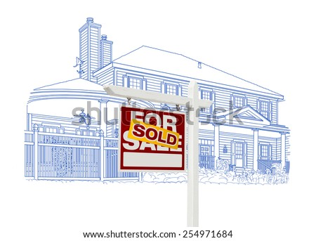 Custom House and Sold Real Estate Sign Drawing on White Background. - stock photo