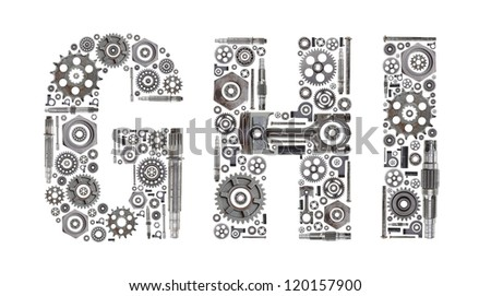 custom metal block letters made out of nuts bolts gears and other car parts