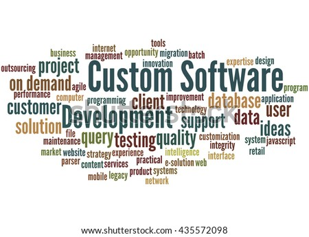 Custom Software Development, word cloud concept on white background.