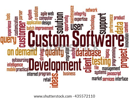 Custom Software Development, word cloud concept on white background. - stock photo