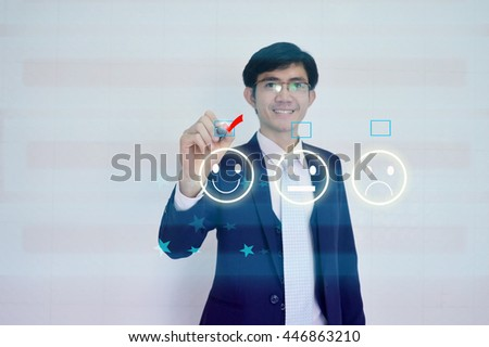 Custome Satisfaction Survey form concept presented by  businessman drawing on  virtual  screen  - stock photo