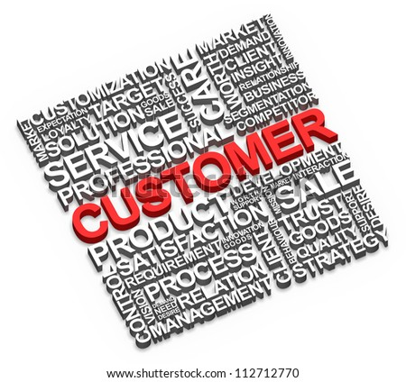 Customer and related words on white background.