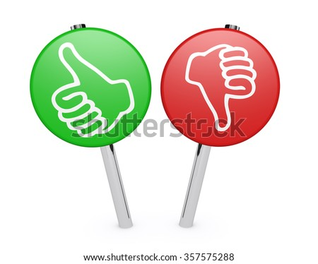 Customer business feedback, rating and survey positive and negative sign post with thumb up and down icon on white background. - stock photo