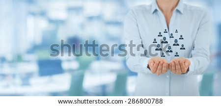 Customer care, care for employees and marketing segmentation concepts. Protecting gesture of personnel and icons representing group of people. Wide banner composition wit office in background. - stock photo
