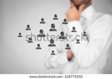 Customer care, care for employees, human resources, labor union, employment agency and marketing segmentation concepts. Personnel think about new employee for team. Leader supervise his team. - stock photo