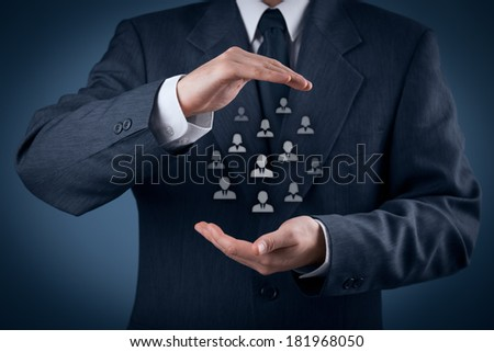 Customer care, care for employees, labor union, life insurance and human resources concepts. Protective gesture of businessman or personnel and icons representing group of people.