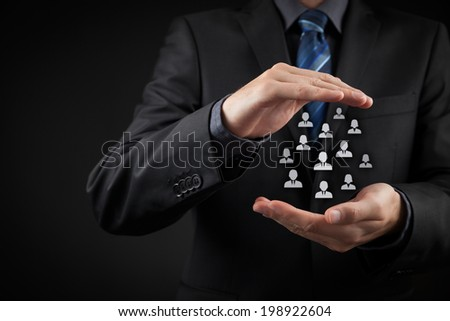 Customer care, care for employees, labor union, life insurance and marketing segmentation concepts. Protecting gesture of businessman or personnel and icons representing group of people. - stock photo
