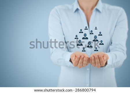 Customer care, care for employees, life insurance and marketing segmentation concepts. Protecting gesture of businesswoman or personnel and icons representing group of people. - stock photo