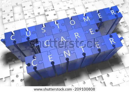 Customer Care Center - puzzle 3d render illustration with block letters on blue jigsaw pieces  - stock photo