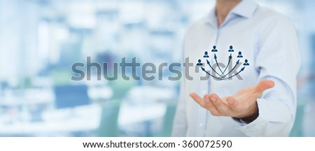 Customer care, manage employee, human resources, life insurance, employment agency and marketing segmentation concepts, office in background, wide banner composition.