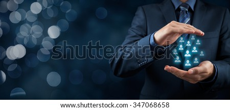 Customer care management, care for employees, life insurance and marketing segmentation concepts. Protecting gesture of businessman or personnel. Wide banner composition with bokeh background.
