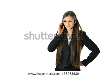 Customer Care Representative with Hand on Headset - stock photo