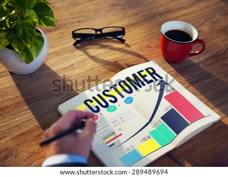 Customer Client Consumer Satisfaction Service Loyalty Concept - stock photo