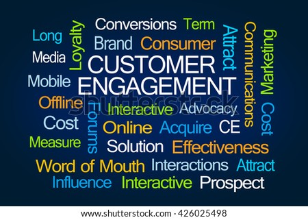 Customer Engagement Word Cloud on Blue Background - stock photo