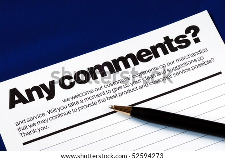 Customer fills in the feedback survey isolated on blue - stock photo