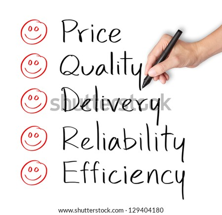 customer hand evaluate happy on price quality delivery reliability and efficiency - stock photo