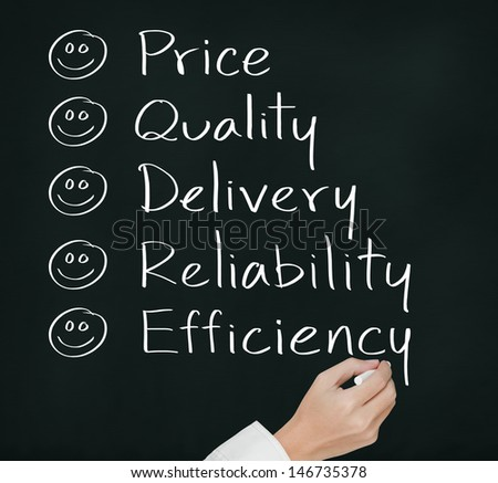 customer hand writing  happy on  price quality delivery reliability and efficiency - stock photo