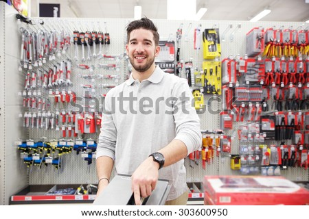 customer in a tool store - stock photo