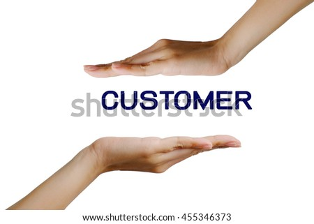 customer in hand concept on white background, selective focus.