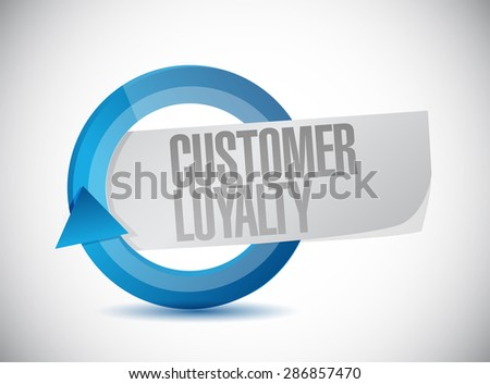 customer loyalty blue cycle sign concept illustration design over white - stock photo