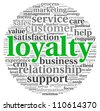 Customer loyalty concept in word tag cloud on white background - stock vector
