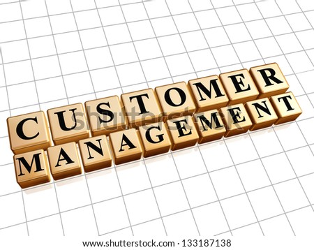 customer management - text in 3d golden cubes with black letters, business CRM concept