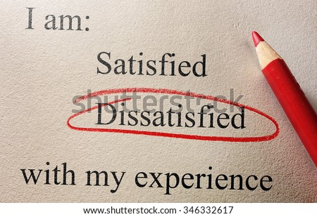 Customer opinion survey with Dissatisfied circled