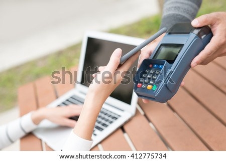 Customer pay by smart phone , great for your design - stock photo