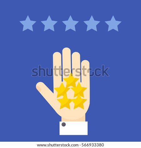 Customer positive review. Hand showing five stars on blue background. Rating evaluation symbol. Likes, approval, feedback design template.