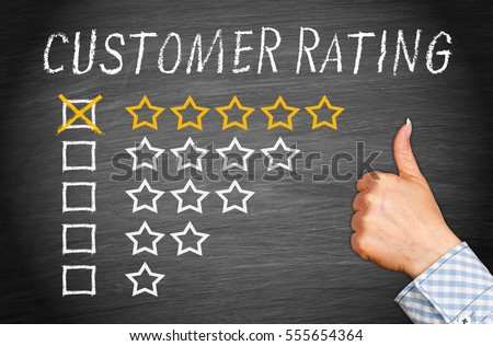 Customer Rating Five Stars with thumb up on chalkboard background