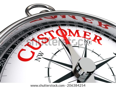 customer red word on conceptual compass isolated on white background