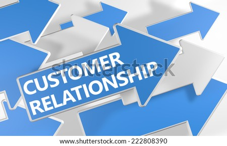 Customer Relationship 3d render concept with blue and white arrows flying over a white background. - stock photo