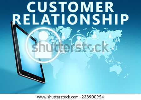 Customer Relationship illustration with tablet computer on blue background - stock photo