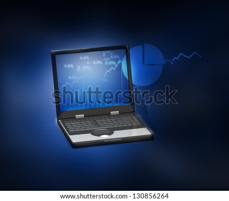 Customer Relationship Management business chart on a digital tab - stock photo