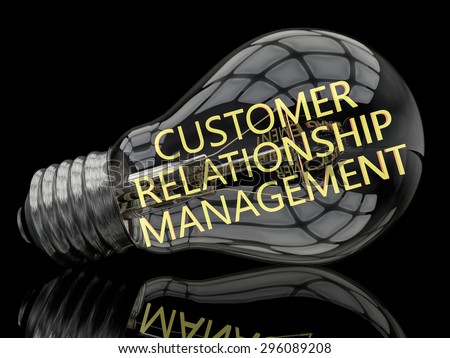 Customer Relationship Management - lightbulb on black background with text in it. 3d render illustration. - stock photo