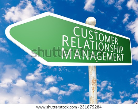 Customer Relationship Management - street sign illustration in front of blue sky with clouds. - stock photo