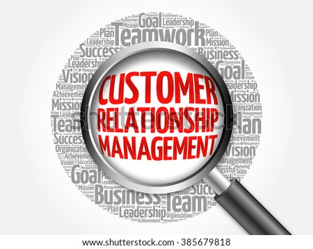 Customer Relationship Management word cloud with magnifying glass, business concept - stock photo