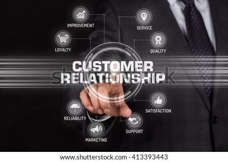 CUSTOMER RELATIONSHIP TECHNOLOGY COMMUNICATION TOUCHSCREEN FUTURISTIC CONCEPT