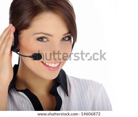 Customer Representative with headset smiling during a telephone conversation