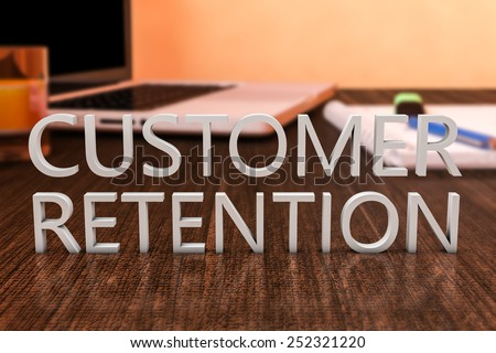 Customer Retention - letters on wooden desk with laptop computer and a notebook. 3d render illustration. - stock photo