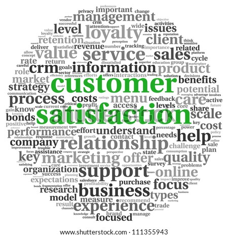 Customer satisfaction concept in word tag cloud on white