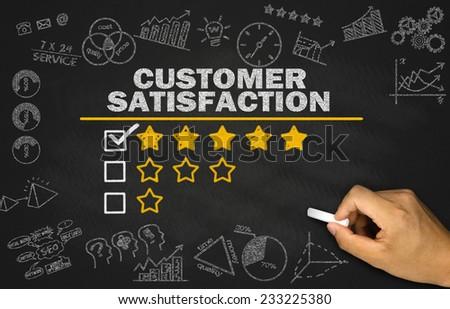 customer satisfaction concept on blackboard - stock photo