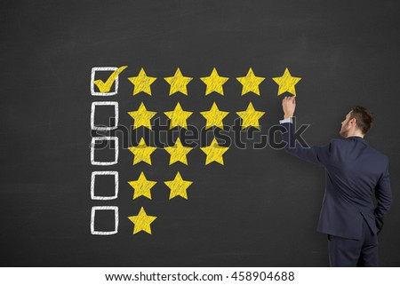 Customer Satisfaction on Blackboard Background