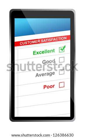 customer satisfaction online selection tablet PC. Illustration design over white