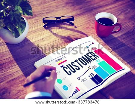 Customer Satisfaction Service Efficiency Loyalty Concept - stock photo