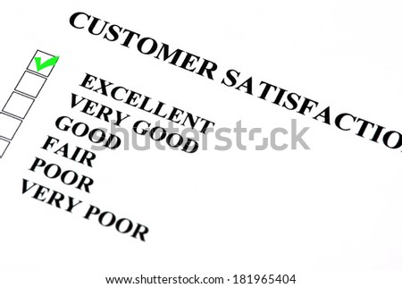 Customer satisfaction service form with check boxes. Excellent is checked. - stock photo