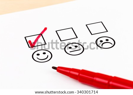 Customer satisfaction survey checkbox with excellent symbol tick - stock photo
