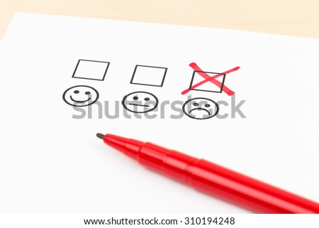 Customer satisfaction survey checkbox with poor symbol tick - stock photo