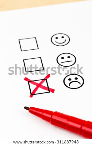 Customer Satisfaction Survey Checkbox Excellent Symbol Stock Photo