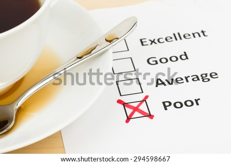Customer satisfaction survey checkbox with poor tick
